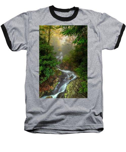 Foggy Autumn Cascades Baseball T-Shirt