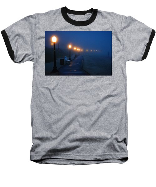 Foggy Boardwalk Blues Baseball T-Shirt
