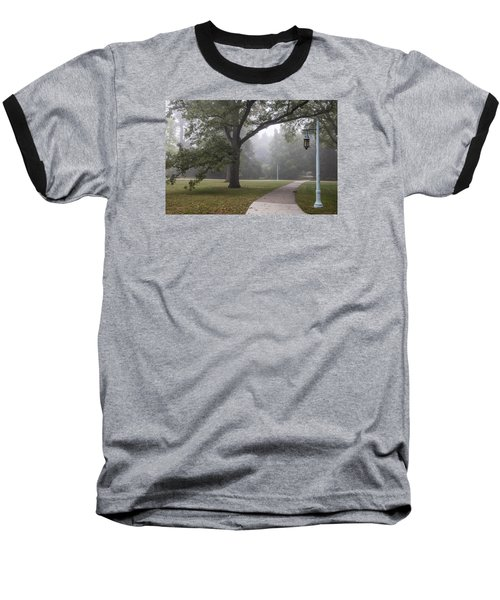 Foggy Campus  Baseball T-Shirt by John McGraw