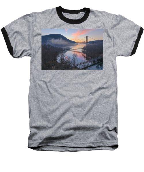 Foggy Dawn At Three Bridges Baseball T-Shirt by Angelo Marcialis