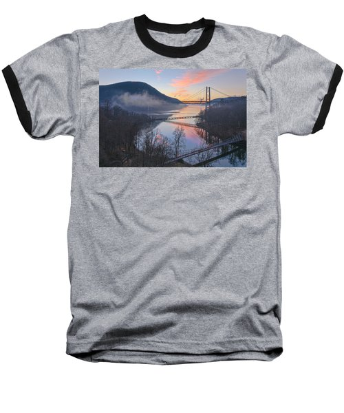Foggy Dawn At Three Bridges Baseball T-Shirt