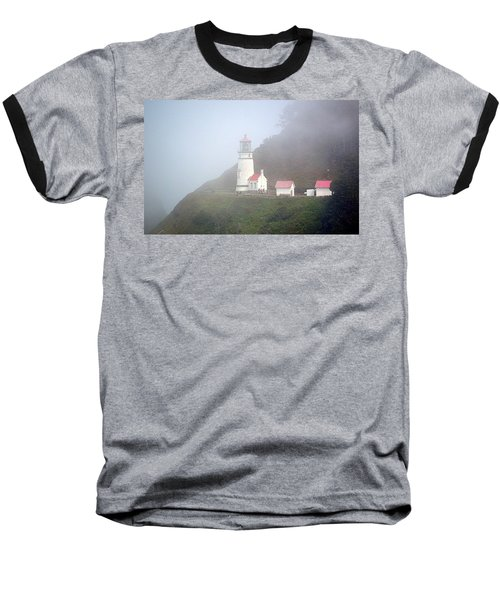Baseball T-Shirt featuring the photograph Foggy Day At The Heceta Head Lighthouse by AJ Schibig