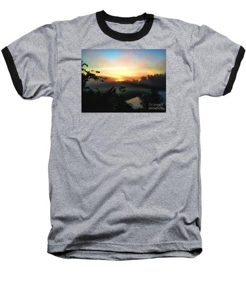 Foggy Edges Sunrise Baseball T-Shirt by Craig Walters