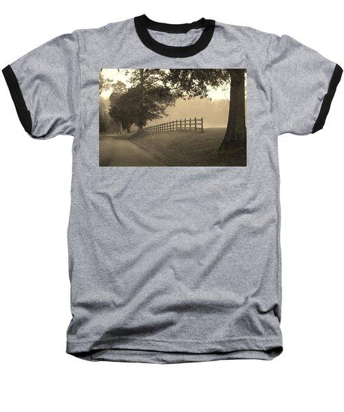Foggy Fence Line Baseball T-Shirt