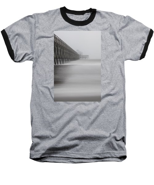 Foggy Folly Beach Pier Baseball T-Shirt by John McGraw