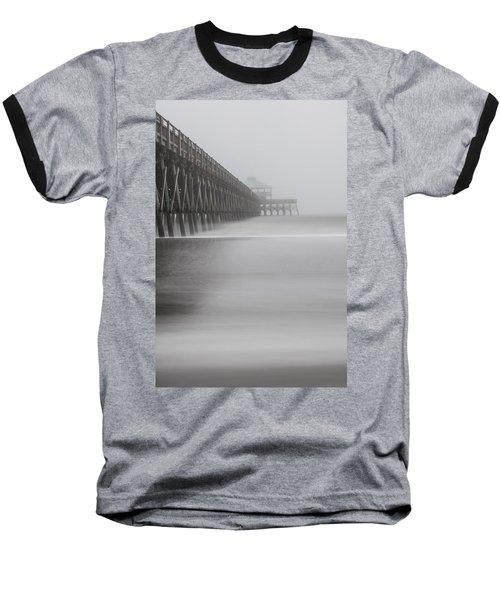 Foggy Folly Beach Pier Baseball T-Shirt