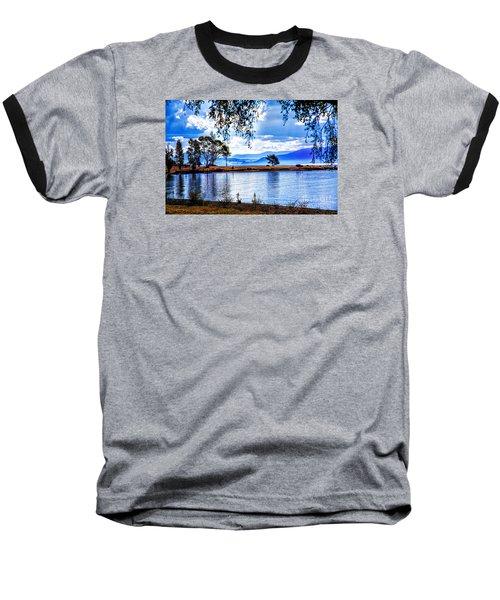Foggy Hills And Lakes Baseball T-Shirt