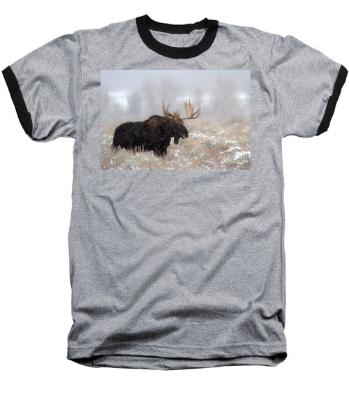 Baseball T-Shirt featuring the photograph Foggy Moose Silhouette by Adam Jewell