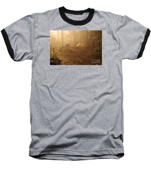 Baseball T-Shirt featuring the photograph Foggy Morning At The Campsite by Larry Ricker