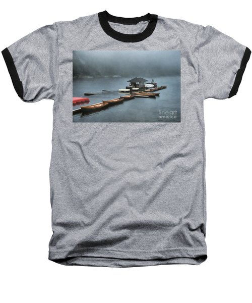 Foggy Morning At The Lake  Baseball T-Shirt by Judy Palkimas