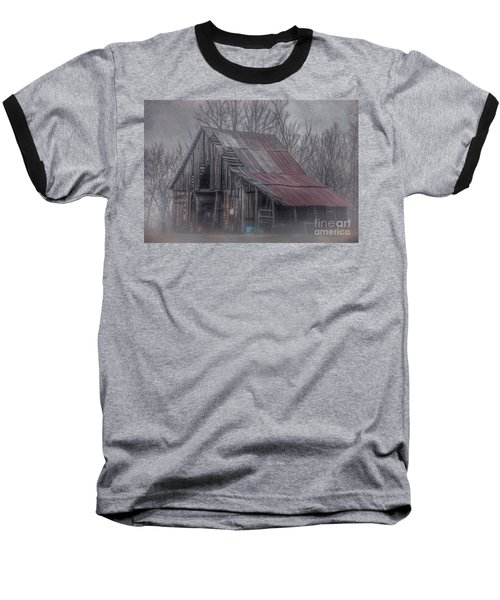 Foggy Morning Backroads Baseball T-Shirt