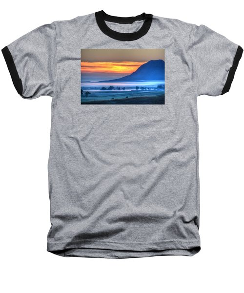 Foggy Morning Baseball T-Shirt by Fiskr Larsen