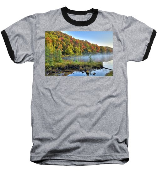 Baseball T-Shirt featuring the photograph Foggy Morning On The Pond by David Patterson
