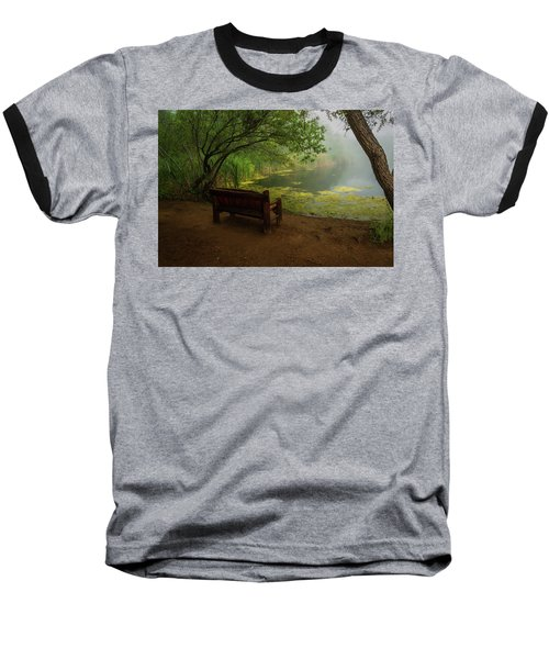 Foggy Morning On The Pond Baseball T-Shirt