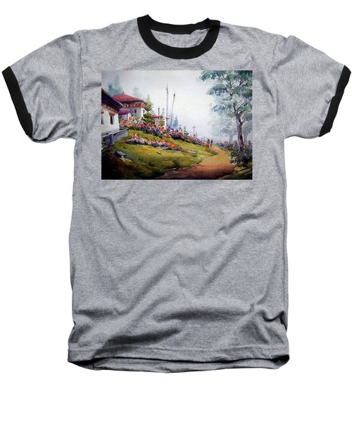 Foggy Mountain Village Baseball T-Shirt by Samiran Sarkar