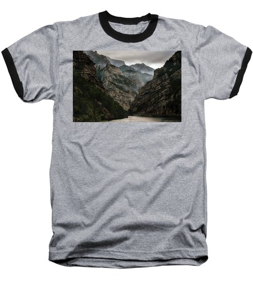 Foggy Mountains Over Neretva Gorge Baseball T-Shirt