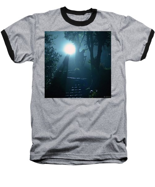 Foggy Night At The Old Railway Village Baseball T-Shirt