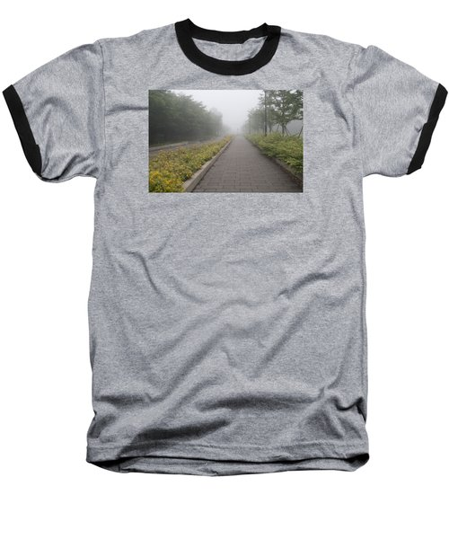 Foggy Pathway Baseball T-Shirt
