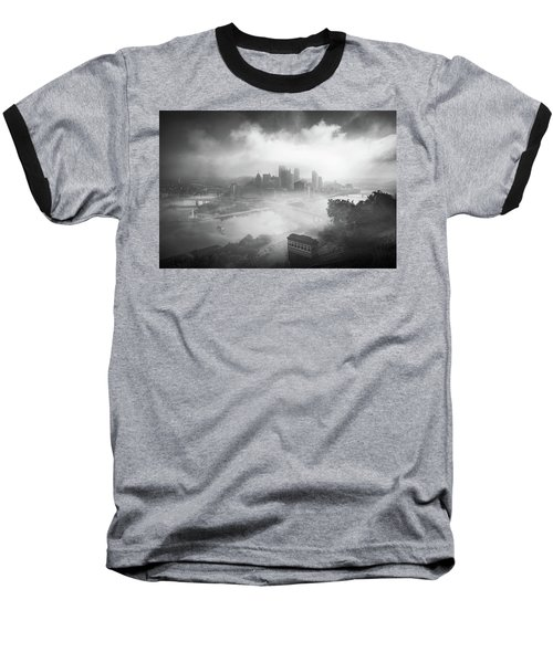 Baseball T-Shirt featuring the photograph Foggy Pittsburgh  by Emmanuel Panagiotakis