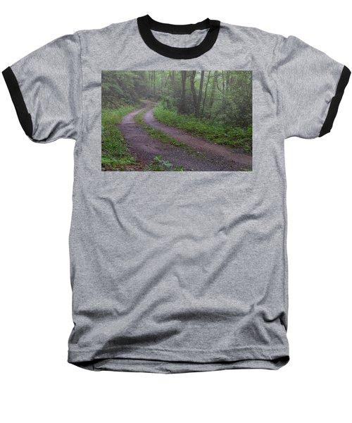 Foggy Road Baseball T-Shirt by David Cote