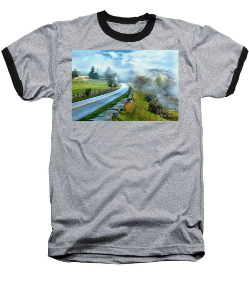 Foggy Spring Morning In Doughton Blue Ridge Parkway Ap Baseball T-Shirt