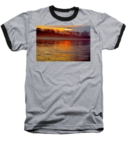 Foggy Sunrise At The Delaware River Baseball T-Shirt