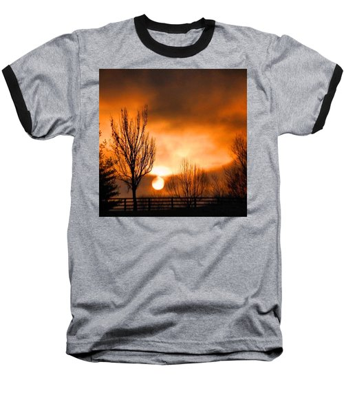 Foggy Sunrise Baseball T-Shirt by Sumoflam Photography
