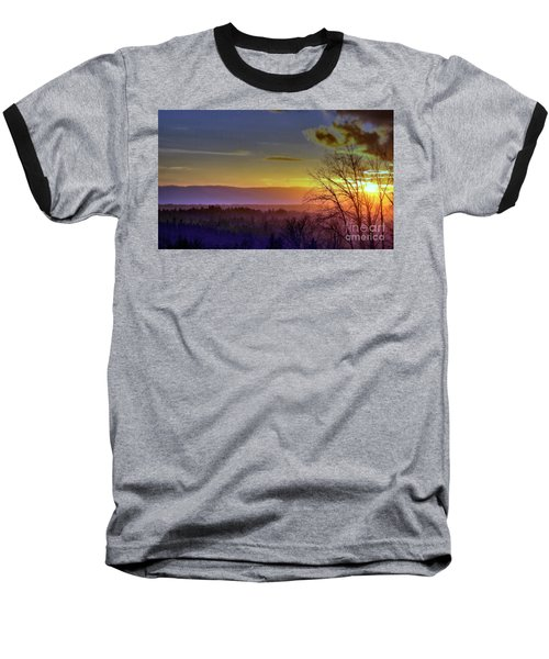 Foggy Sunset Baseball T-Shirt