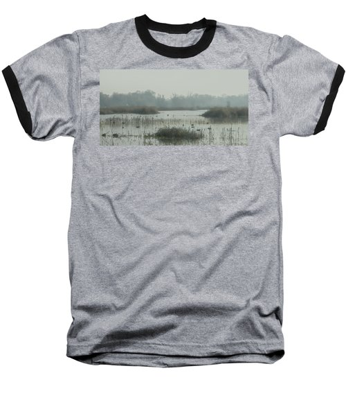 Foggy Wetlands Baseball T-Shirt