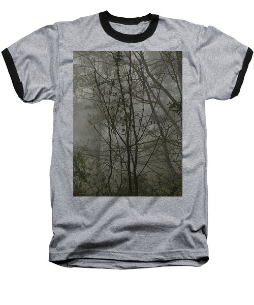 Foggy Woods Photo  Baseball T-Shirt by Gina O'Brien