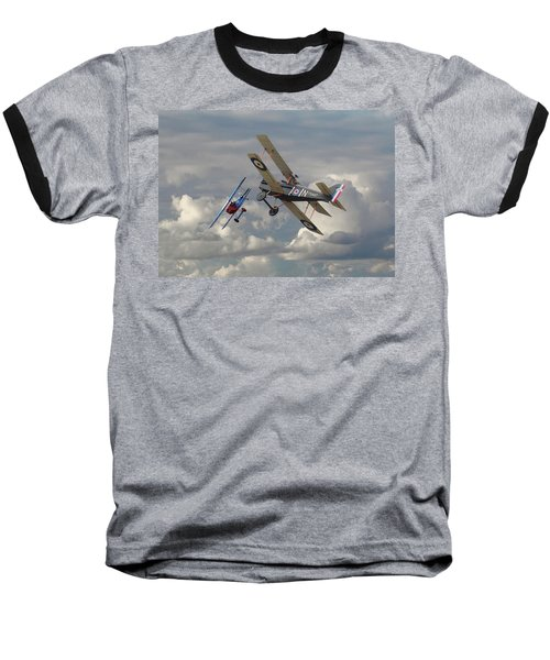 Baseball T-Shirt featuring the digital art Fokker Dvll And Se5 Head To Head by Pat Speirs