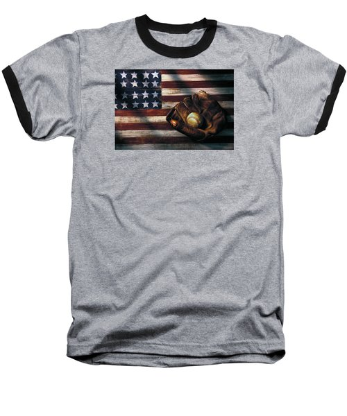 Folk Art American Flag And Baseball Mitt Baseball T-Shirt
