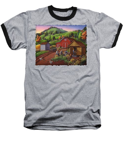 Folk Art Americana - Farmers Shucking Harvesting Corn Farm Landscape - Autumn Rural Country Harvest  Baseball T-Shirt by Walt Curlee