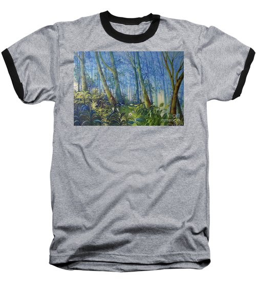 Follow Me Oil Painting Of A Magic Forest Baseball T-Shirt by Maja Sokolowska