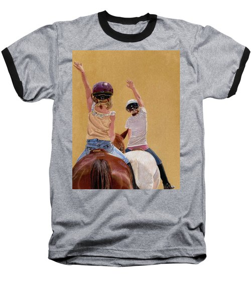 Follow The Leader - Horseback Riding Lesson Painting Baseball T-Shirt