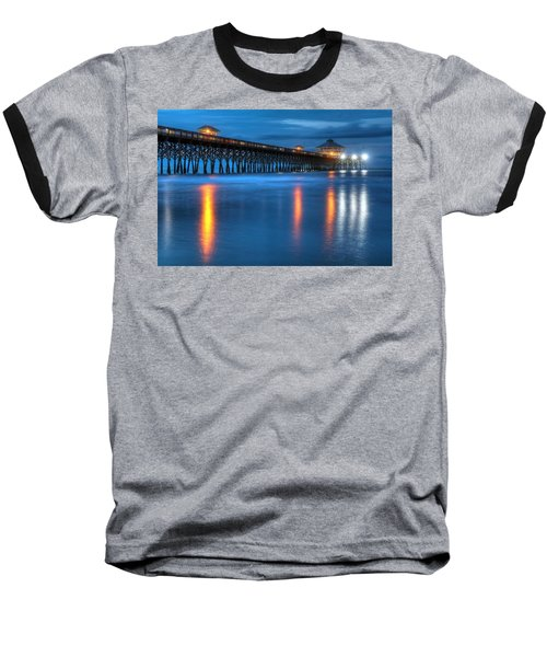 Folly Beach Pier At Blue Hour Charleston South Carolina Baseball T-Shirt