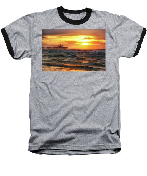 Folly Beach Pier Sunrise Baseball T-Shirt