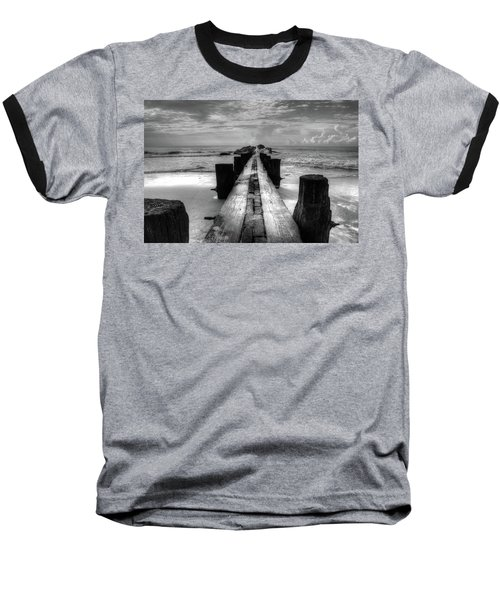 Folly Beach Pilings Charleston South Carolina In Black And White  Baseball T-Shirt