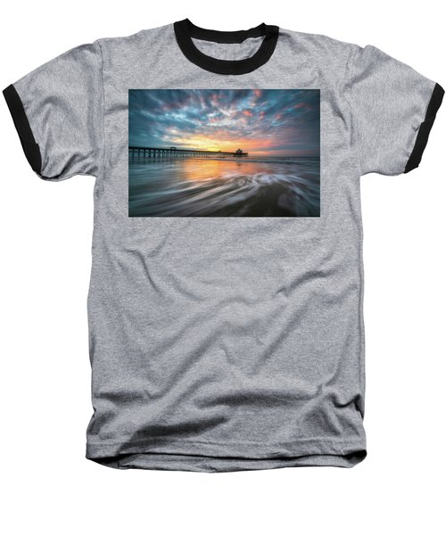 Folly Beach Sc Ocean Seascape Charleston South Carolina Scenic Landscape Baseball T-Shirt