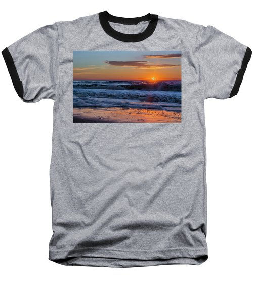 Folly Beach Sunrise Baseball T-Shirt by RC Pics