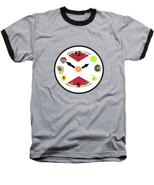 Food Clock Baseball T-Shirt by Kathleen Sartoris