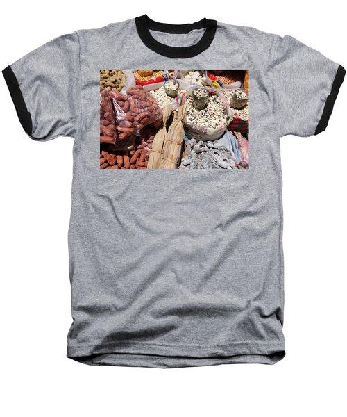 Food Market Baseball T-Shirt by Aidan Moran