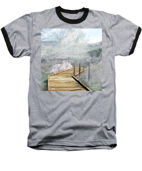 Footbridge In The Clouds Baseball T-Shirt by Deborah Nakano