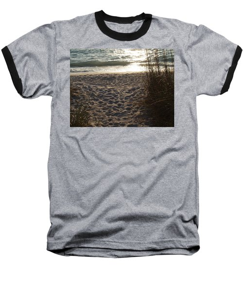 Baseball T-Shirt featuring the photograph Footprints In The Dunes by Robert Margetts