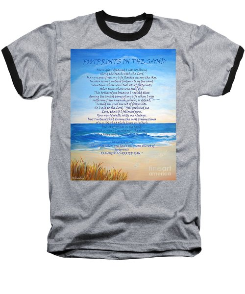 Baseball T-Shirt featuring the painting Footprints In The Sand by Shelia Kempf