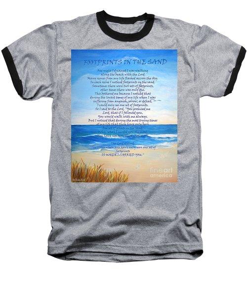 Footprints In The Sand Baseball T-Shirt by Shelia Kempf