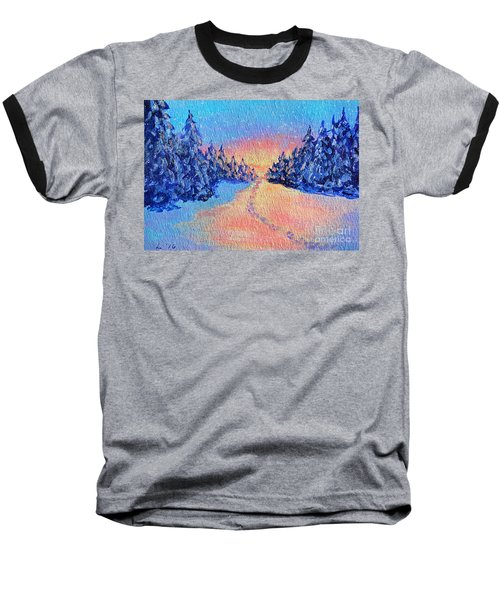Baseball T-Shirt featuring the painting Footprints In The Snow by Li Newton