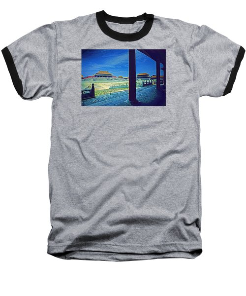 Baseball T-Shirt featuring the photograph Forbidden City Porch by Dennis Cox ChinaStock