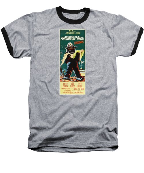 Forbidden Planet In Cinemascope Retro Classic Movie Poster Portraite Baseball T-Shirt by R Muirhead Art