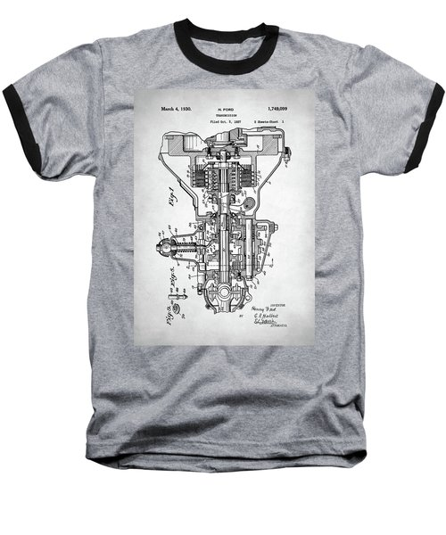 Ford Engine Patent Baseball T-Shirt by Taylan Apukovska